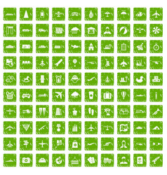 100 plane icons set grunge green vector
