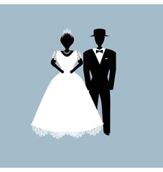 Bride and groom flat on vector