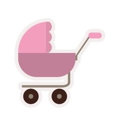 Baby carriage with pink layette vector