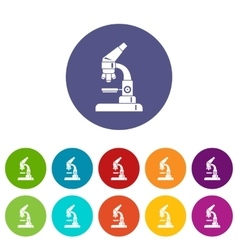 Microscope set icons vector image