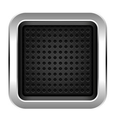 Square empty chrome metal icon with texture vector