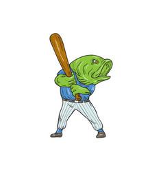 largemouth bass baseball player batting cartoon vector image