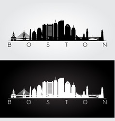 Boston usa skyline and landmarks silhouette vector