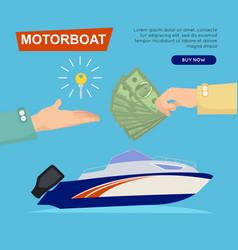 Buying motorboat online boat selling web banner vector