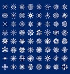 Big set of snowflakes on blue background vector