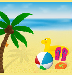 Summer vacation banner design palm tree vector