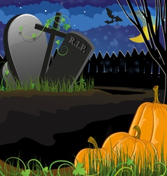 Pumpkins near the graves vector