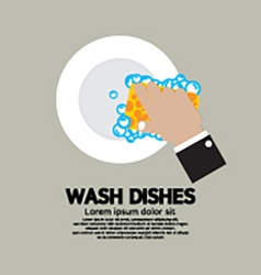 Hand Washing Dishes With Sponge vector image