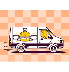 Van free and fast delivering burger with vector