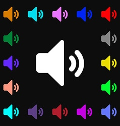 Speaker volume sound icon sign lots of colorful vector
