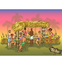 Tiki bar background vector