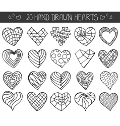Hand drawing hearts doodle setoutline geometric vector