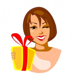 smiling woman with gift vector image