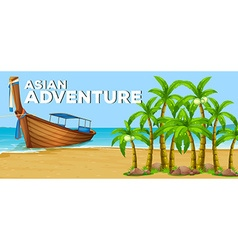 Summer theme with asian adventure vector