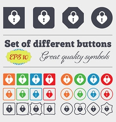 Lock in the shape of heart icon sign big set of vector