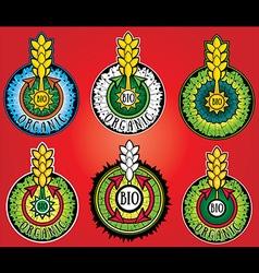 Wheat farm organic bio product design stamps vector