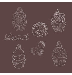 Set of cakes made with white outline on a dark vector image