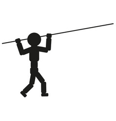 athlete with pole for jump sign vector image vector image