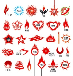 biggest collection of logos fire and flames vector image vector image