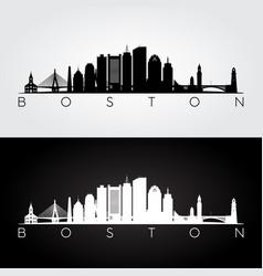 Boston usa skyline and landmarks silhouette vector