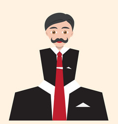 Businessman flat abstract avatar man in suit with vector