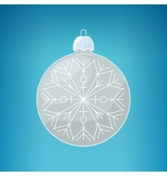 Christmas silver ball with snowflake vector