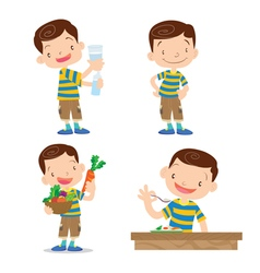 Cute boy character cartoon many action vector image