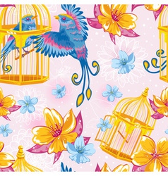 Dream colorful seamless pattern with birds vector image