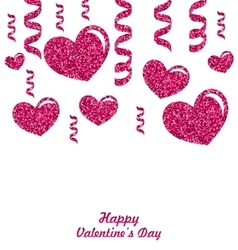 Frame from Pink Hearts with Glitter Background vector image vector image
