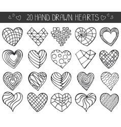 Hand drawing hearts doodle setOutline geometric vector image vector image