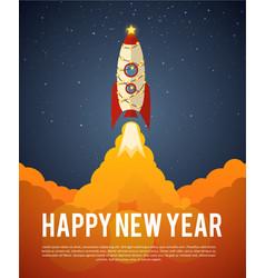 Happy new year rocket vector