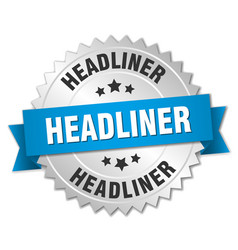 Headliner 3d silver badge with blue ribbon vector