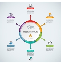 Infographic circle diagram template with 6 options vector