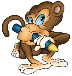 monkey painter vector image vector image
