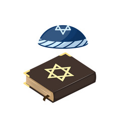 muslim tradition islam hat source jew bible book vector image