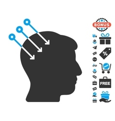 Neural interface connectors icon with free bonus vector