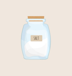 salt stored in closed glass jar isolated on white vector image vector image