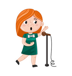 Smiling little girl singer with microphone vector