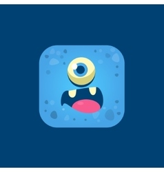Surprised blue monster emoji icon vector