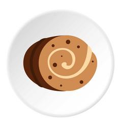 Sweet creamy roll icon circle vector