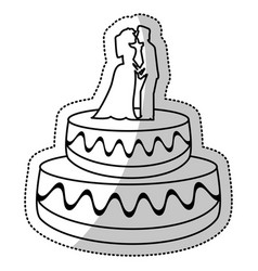 Wedding cake couple dessert outline vector