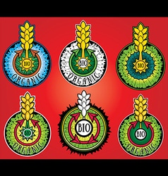wheat farm organic bio product design stamps vector image vector image