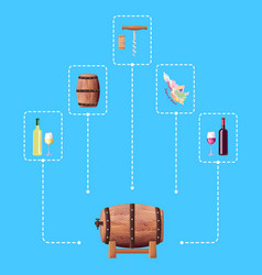 Wine barrel and connected icon vector