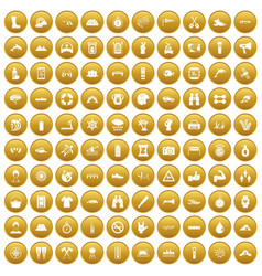 100 rafting icons set gold vector