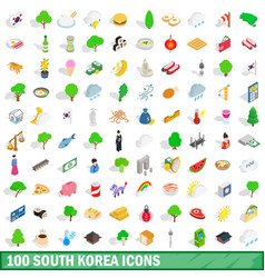 100 south korea icons set isometric 3d style vector image vector image