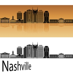 Nashville skyline in orange vector
