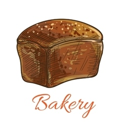 Bread loaf sketch icon for bakery shop vector