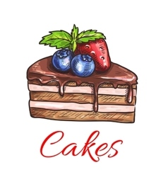 Chocolate cake with fruits isolated sketch vector