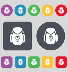 Backpack icon sign a set of 12 colored buttons vector