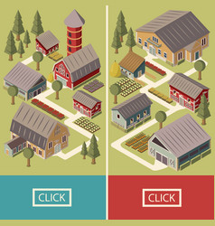 farm isometric banners vector image